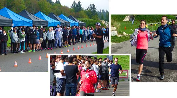 L'épreuve de course à pied pendant un séminaire avec l'activité biathlon