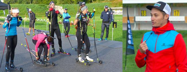 Démonstration de ski à roulettes pendant un séminaire montagne