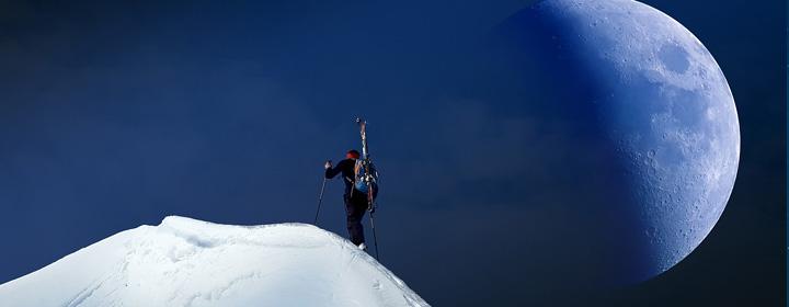 ski de randonnée sous la lune