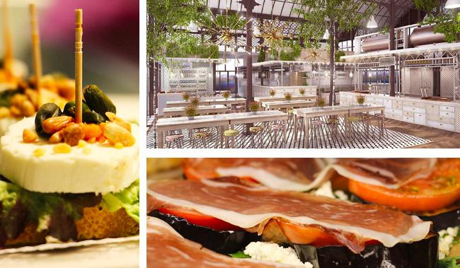 Tapas et lunch dans un food court le long du Guadalquivir